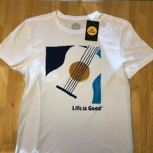 Life Is Good Men's Guitar T-Shirt Medium Slim Fit
